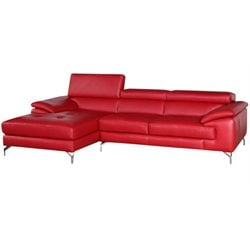 A973B Leather Mini Sectional in Red