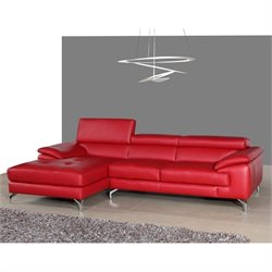 J&M Furniture Leather Left Mini Sectional in Red