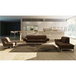 J&M Furniture Astro 3 Piece Leather Sofa Set in Chocolate