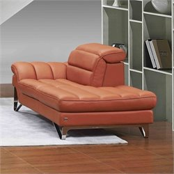 J&M Furniture Astro Leather Lounger in Pumpkin