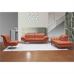 J&M Furniture Astro 3 Piece Leather Sofa Set in Pumpkin