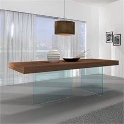 J&M Furniture Elm Chestnut Wood Glass Leg Dining Table in Walnut