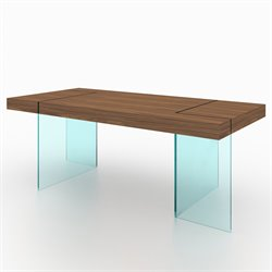 J&M Furniture Elm Modern Wood Glass Leg Dining Table in Walnut
