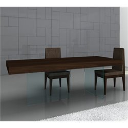 J&M Furniture Float Modern Wood Glass Leg Dining Table in Dark Oak