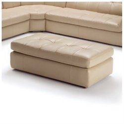 J&M Furniture 397 Leather Ottoman in Beige