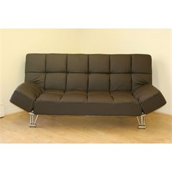 J&M Furniture Venus Faux Leather Convertible Sofa in Chocolate