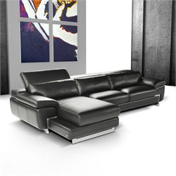 J&M Furniture Nicoletti Oregon I Leather Left Sectional in Black