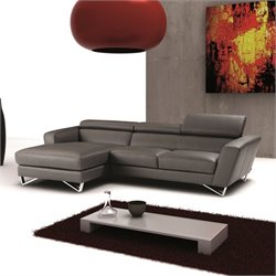 Nicoletti Sparta Leather Mini Sectional in Grey