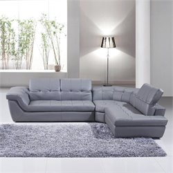 J&M Furniture 397 Leather Right Sectional in Gray