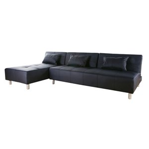 Gold Sparrow Atlanta Faux Leather Convertible Sofa in Black