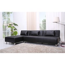 Gold Sparrow Atlanta Leather Convertible Sofa in Black