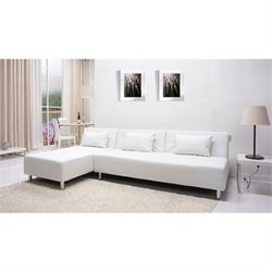 Gold Sparrow Atlanta Faux Leather Convertible Sofa in White