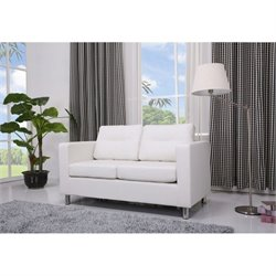 Gold Sparrow Detroit Faux Leather Loveseat in White
