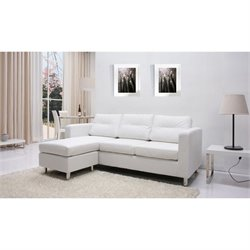 Gold Sparrow Detroit  Leather Convertible Sofa with Ottoman in White