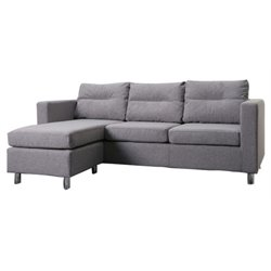 Gold Sparrow Detroit  Fabric Convertible Sofa with Ottoman in Ash