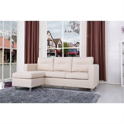 Gold Sparrow Detroit  Fabric Convertible Sofa with Ottoman in Beige