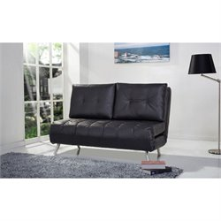Gold Sparrow Tampa Faux Leather Convertible Sofa in Black
