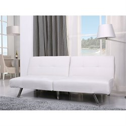 Gold Sparrow Jacksonville Faux Leather Convertible Sofa in White