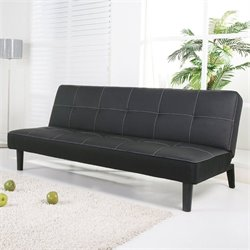 Gold Sparrow Columbus Leather Convertible Sofa in Black