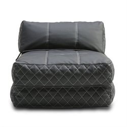 Gold Sparrow Austin Leather Convertible Bean Bag Chair Bed in Black