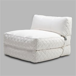 Gold Sparrow Austin Leather Convertible Bean Bag Chair Bed in White