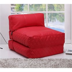 Gold Sparrow Austin Leather Convertible Bean Bag Chair Bed in Red