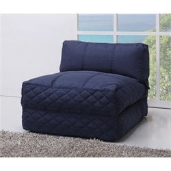 Gold Sparrow Austin Fabric Convertible Bean Bag Chair Bed in Blue