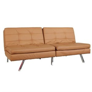 Gold Sparrow Memphis Faux Leather Convertible Sofa in Camel