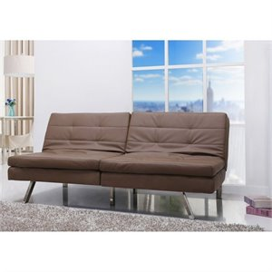 Gold Sparrow Memphis Faux Leather Convertible Sofa in Taupe