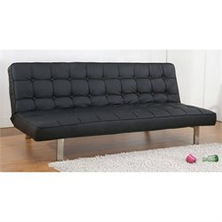 Gold Sparrow Vegas Faux Leather Convertible Sofa in Black
