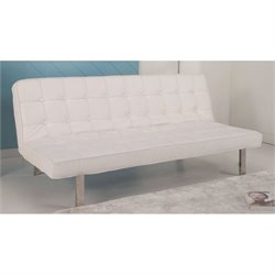 Gold Sparrow Vegas Leather Convertible Sofa in White