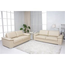 Gold Sparrow Hampton 2 Piece Leather Sofa Set in Beige