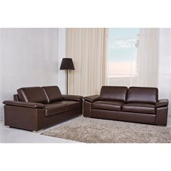 Gold Sparrow Hampton 2 Piece Leather Sofa Set in Coffee
