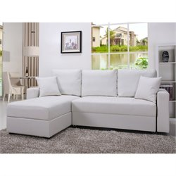 Gold Sparrow Aspen Leather Convertible Storage Sectional in White