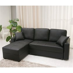 Gold Sparrow Aspen Faux Leather Convertible Storage Sectional in Black