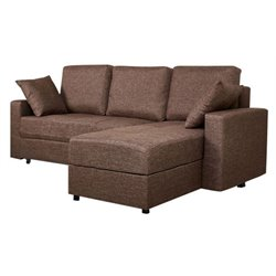 Gold Sparrow Aspen Fabric Convertible Storage Sectional in Ceramic