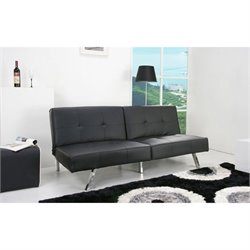 Gold Sparrow Victorville Faux Leather Convertible Sofa in Black