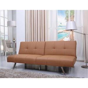 Gold Sparrow Victorville Faux Leather Convertible Sofa in Camel