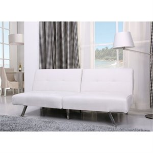 Gold Sparrow Victorville Faux Leather Convertible Sofa in White