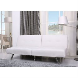 Gold Sparrow Victorville Leather Convertible Sofa in White