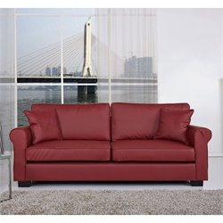 Gold Sparrow Pittsburgh Faux Leather Sofa in Wine Red