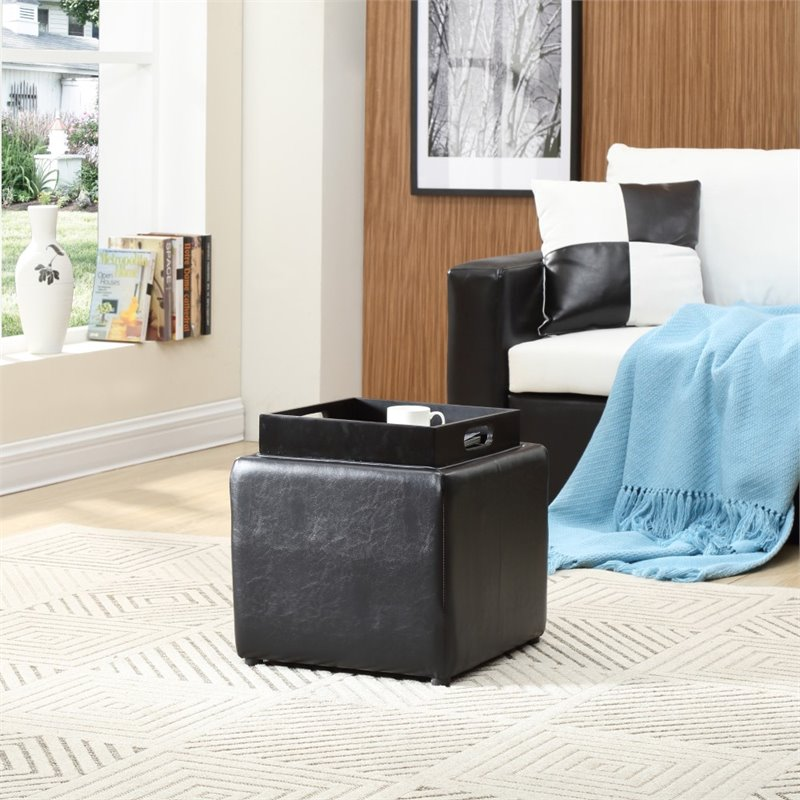 Hodedah Single Storage Ottoman with 1 Flip over Serving Tray in Black