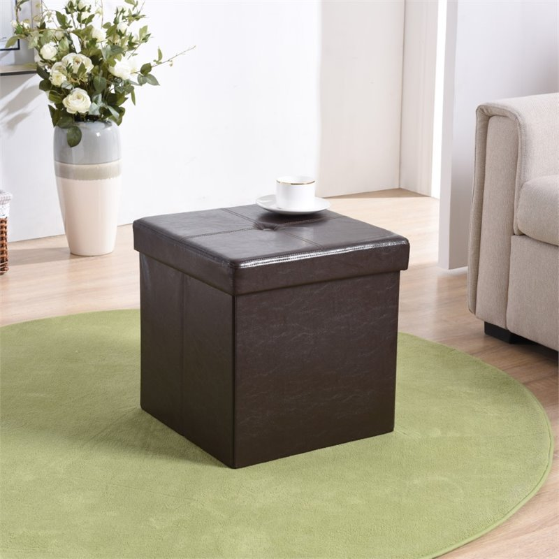Hodedah Cube Foldable Faux Leather Storage Ottoman in Brown