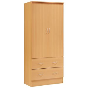 Hodedah 2 Door Armoire with 2 Drawers and Clothing Rod in Beech