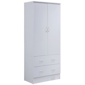Hodedah 2 Door Armoire with 2 Drawers and Clothing Rod in White