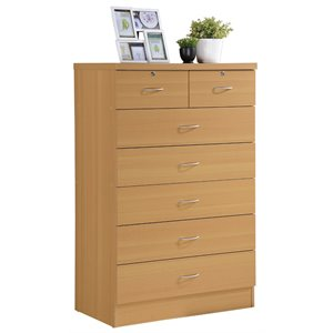 Hodedah 7 Drawer Chest with Locks on 2 Top Drawers in Beech