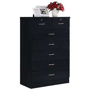 Hodedah 7 Drawer Chest with Locks on 2 Top Drawers in Black