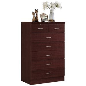 Hodedah 7 Drawer Chest with Locks on 2 Top Drawers in Mahogany