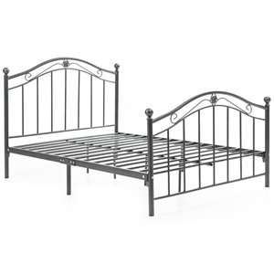 Hodedah Complete Metal Full Size Bed in Black Silver