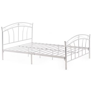 Hodedah Complete Metal Twin Size Bed in White